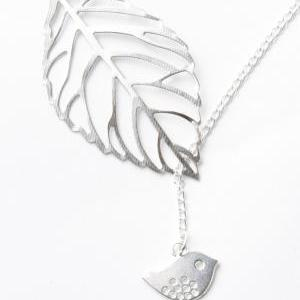 Bird necklace - leaf necklace - bir..