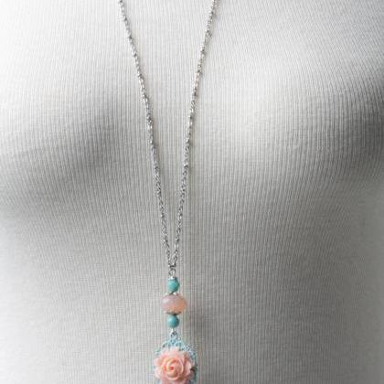 long necklace-shabby chic necklace-..