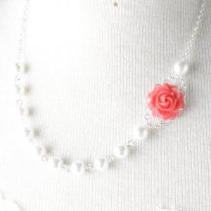 vintage style flower necklace - Cor..