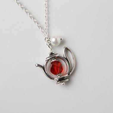Teapot Necklace - red crystal and p..