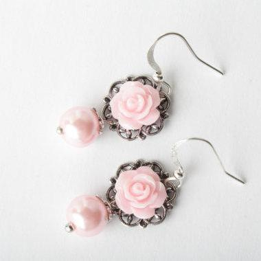 Pink rose earrings - bridesmaid ear..