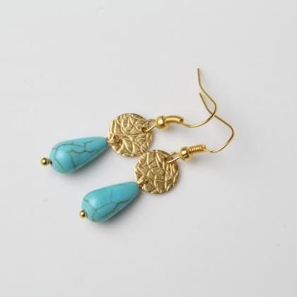 Dainty Turquoise Earrings, Delicate..