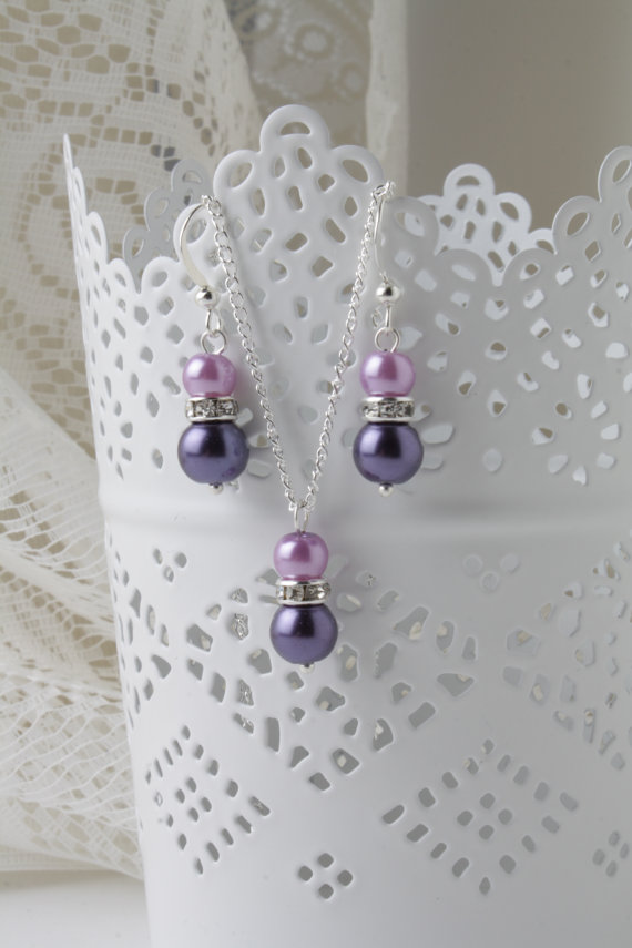 Bridesmaid jewelry set - Dark purple and lilac - earrings and necklace - purple wedding - bridesmaid gift - pearl and crystal jewelry set