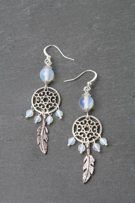 Dreamcatcher earrings, Moonstone earrings, feather earrings, silver and moonstone jewelry, Made in Canada, gypsy, boho, gift for her, opal