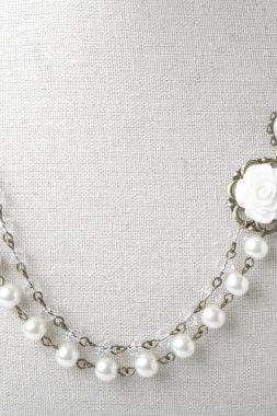 Bridal necklace, multi strand wedding necklace, Bride Jewelry, Ivory wedding jewelry, Rose necklace, pearl and crystal necklace