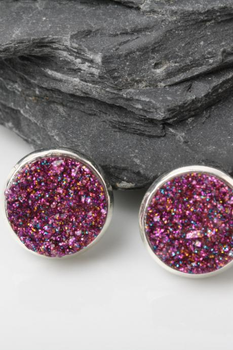 Pink Druzy stud earrings - druzy style earrings - faux druzy earrings - Pink sparkly earrings - druzy post earrings - Pink druzy earrings - Blue druzy