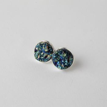 Druzy stud earrings - druzy style earrings - faux druzy earrings - sparkly earrings - druzy post earrings - Blue druzy earrings - Blue druzy