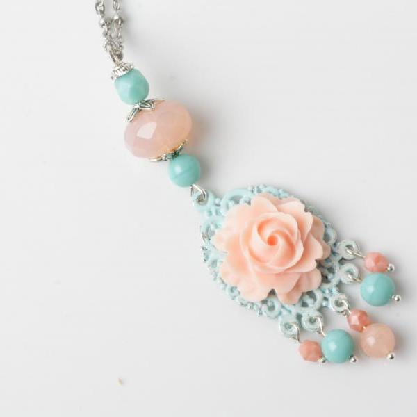 long necklace-shabby chic necklace-flower necklace -coral-rose cabochon necklace -cabochon jewelry - coral and blue - Mint jewelry - sautoir