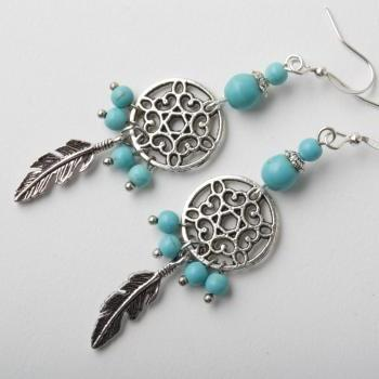 Dreamcatcher earrings - turquoise earrings - feather earrings - silver and turquoise - Made in Canada - rustic earrings - gypsy - boho - blue - Boucles d'oreilles capteur de rêve