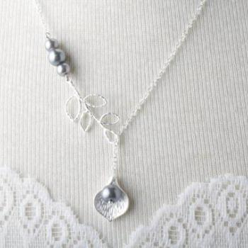 Custom listing for Penneylain - Bridesmaid necklace - silver calla and white pearl necklace - white wedding jewelry - bride necklace
