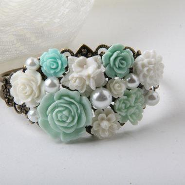Mint Flower Cuff Bracelet, Bridal Bracelet, mint wedding jewelry, Bridesmaid Bracelet, rose bracelet, gift for her, Canada, bijoux karma