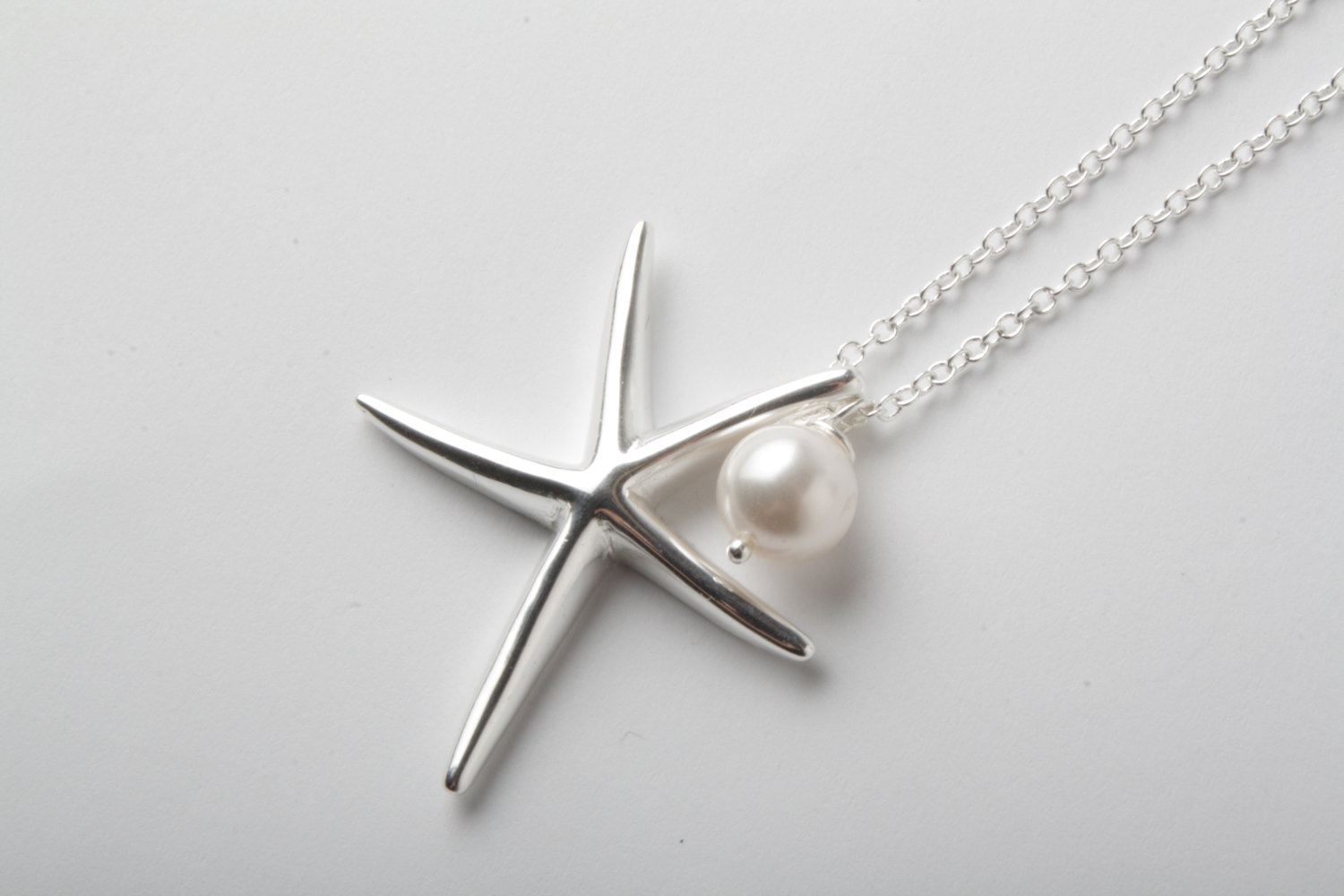 Starfish necklace 925 sterling silver necklace silver starfish starfish necklace 925 sterling silver necklace silver starfish and swarovski pearl necklace beach wedding necklace nautical aloadofball Image collections