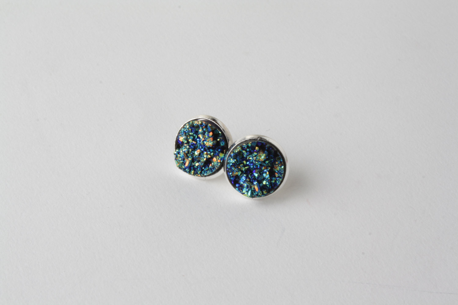 sparkly green dichroic stud products image silver copper sterling earrings glass on