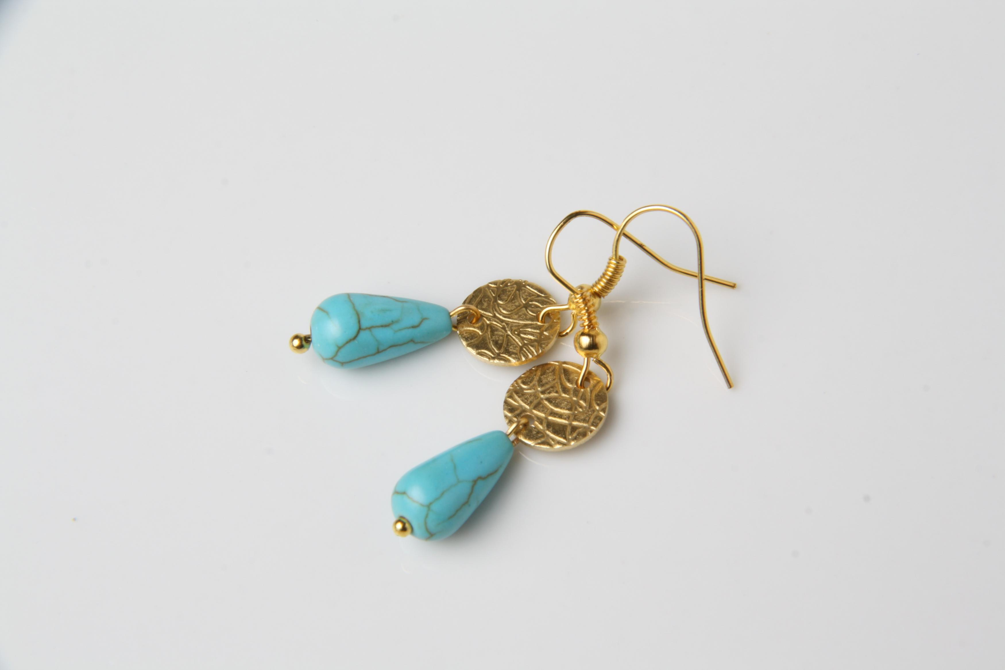 Dainty Turquoise Earrings Delicate Drop Jewelry And Gold Made In Canada Gypsy Gift