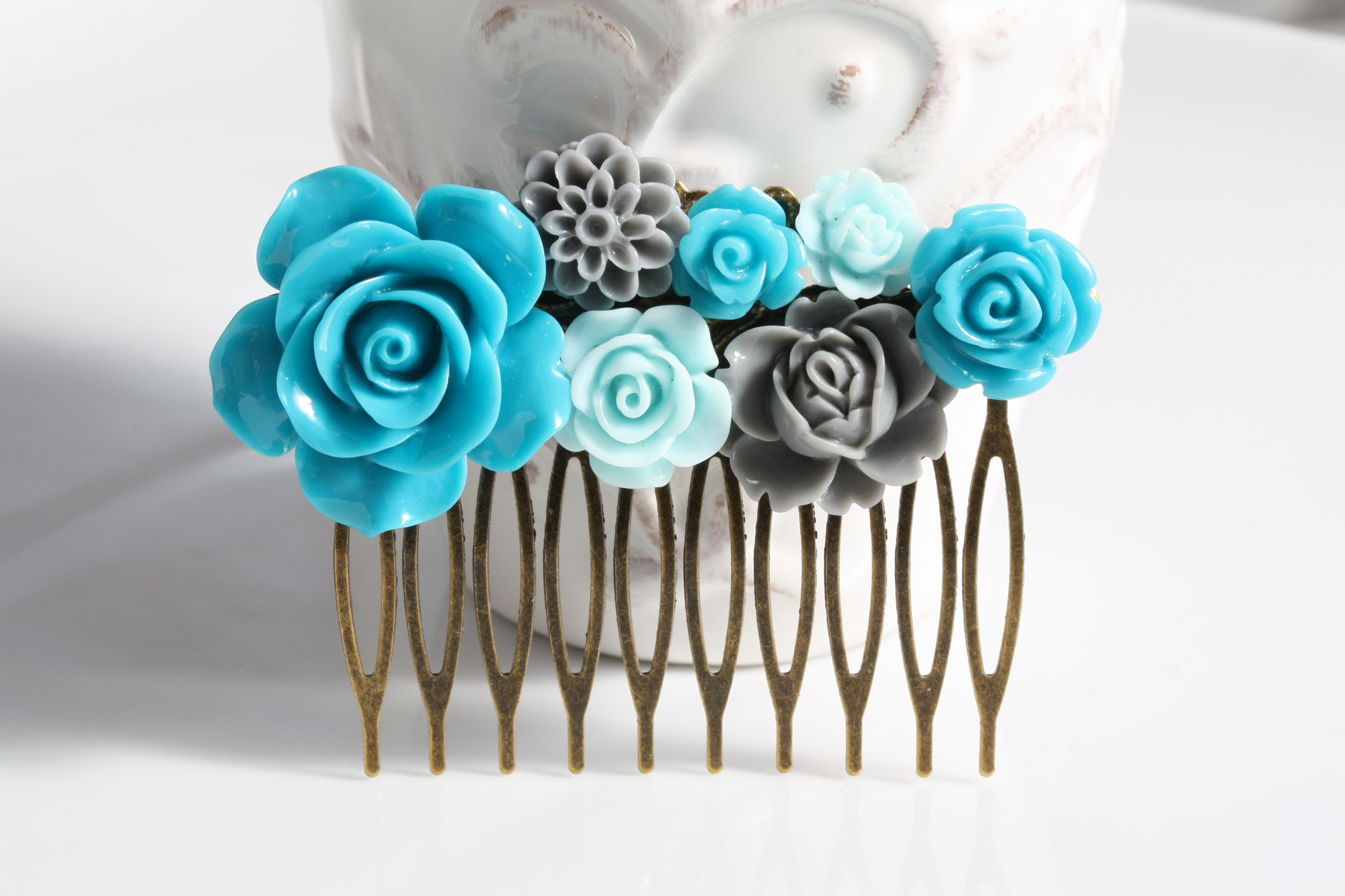 wedding hair comb, teal, blue and grey flower hair comb, wedding